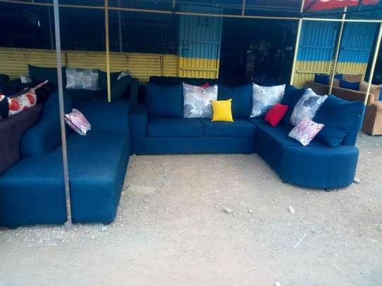 L shape plus sofa bed navy blue image 1
