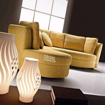 Yellow curved sofas/sectional couch/six seater modern sofas image 4