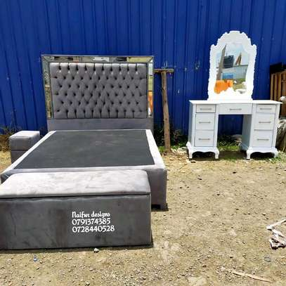Modern bedset/bed/dresser/drawer/storage puff/grey bedset/tufted beds/modern Mirrored bedset designs image 2