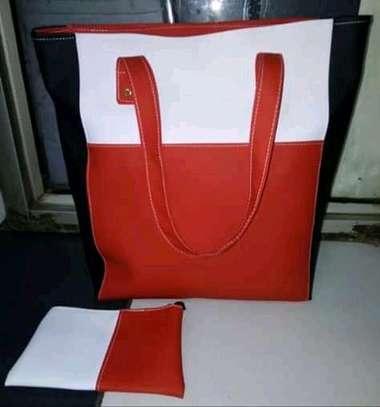 Fashion tote handbag,red and white image 1
