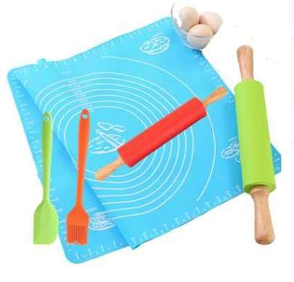 Silicon rolling mat set (mat, 2 rolling pins, brush and spatula)