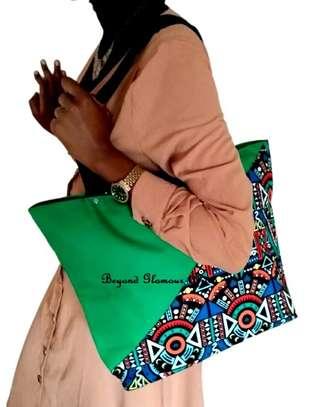 Womens Green ankara canvas handbag image 1