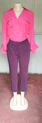 Maroon official pant and chiffon top