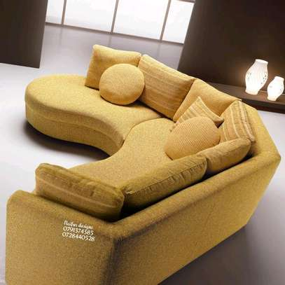 Yellow curved sofas/sectional couch/six seater modern sofas image 2