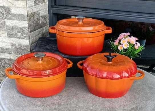Cast iron orange cookware set image 1