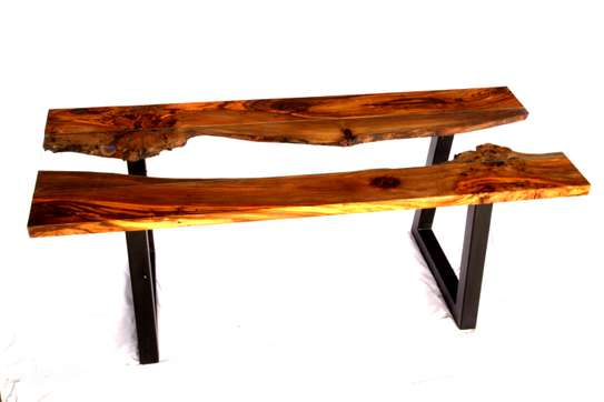 Table: Unique live edge table with toughened glass centre and modern steel legs image 2