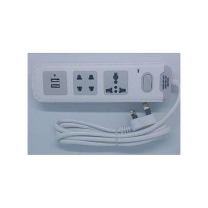 2Way Extension Cable with 2 charging port. image 1