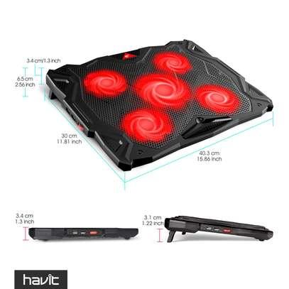 HAVIT 5 Fans Laptop Cooling Pad for 14-17 Inch Laptop, Cooler Pad with LED Light, Dual USB 2.0 Ports, Adjustable Mount Stand (Black) image 5
