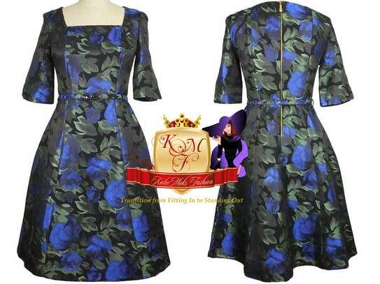 Jacquard Floral Skater Dress Made in UK. image 1