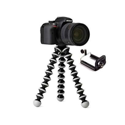 Tripod Octopus Flexible for small Camera and Smartphones with Phone Mount - White & Black