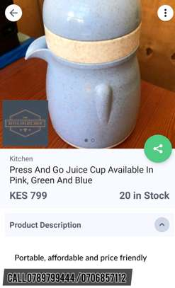 Press and go juice cup available in pink,green and blue