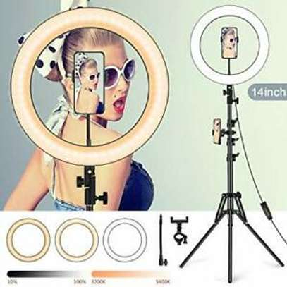 14inch Dimmable Ring Light with 3 holder Selfie light Ring Fill Light beauty brightening for Youtube online live image 1