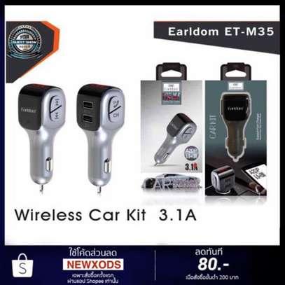Earldom ET-M35 Dual USB Port 3.1A Wireless Bluetooth FM Transmitter MP3+ Charger Aux Audio Output Car Kit image 3