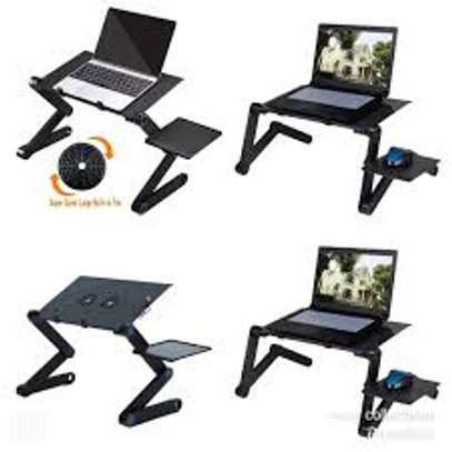 Adjustable laptop stand with mouse holder and cooling fan image 3