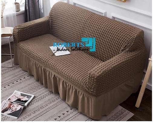 Light brown elastic sofa cover image 1