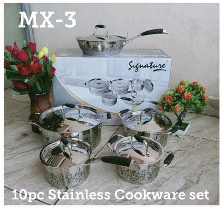 10pcs stainless steel sufuria/induction stainless steel sufuria image 3