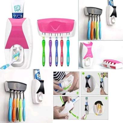 Automatic toothpaste dispenser with 5 pieces toothbrush holder image 1