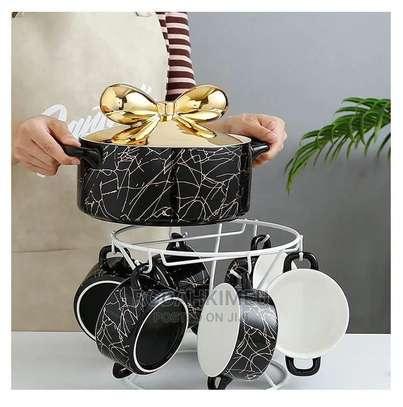 * Black Luxurious Marble Soup Bowl Set image 1