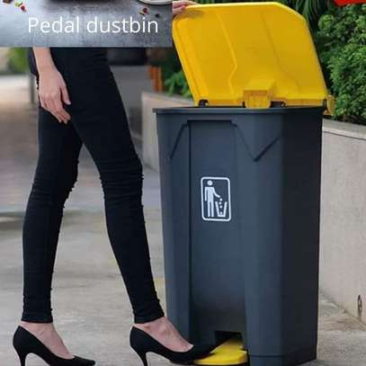 Black & yellow pedal opening dustbin image 1