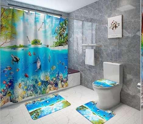 Bathroom Curtain and 2 Mats Set - Curtain - 6x6ft image 1