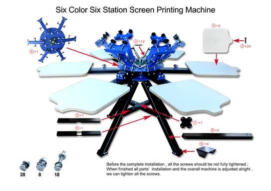 6 Color 6 Station Silk Screen Printing Machine Printer Press image 2
