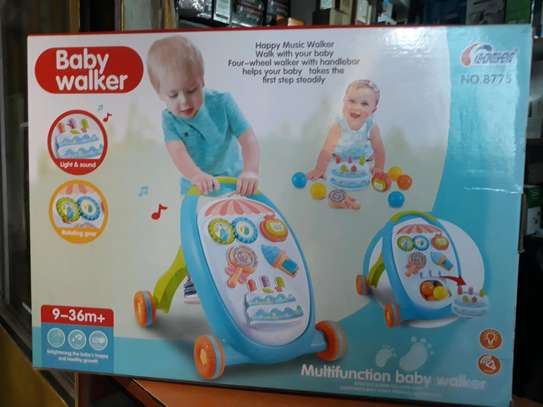 Baby walker with music,playing toys, balls, shaker,cake image 1