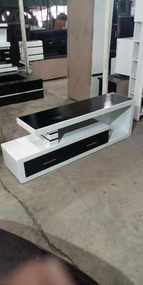 White and black TV stand image 1