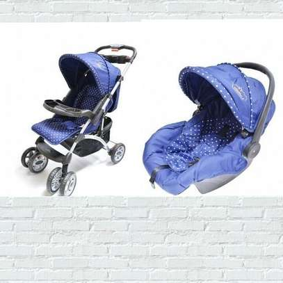Superior 3 in 1 baby stroller set- Blue & White Polka dots