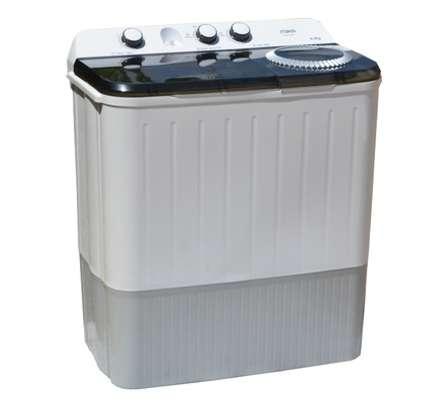 MIKA Washing Machine, Semi-Automatic Top Load, Twin Tub, 9Kg, White & Grey image 1
