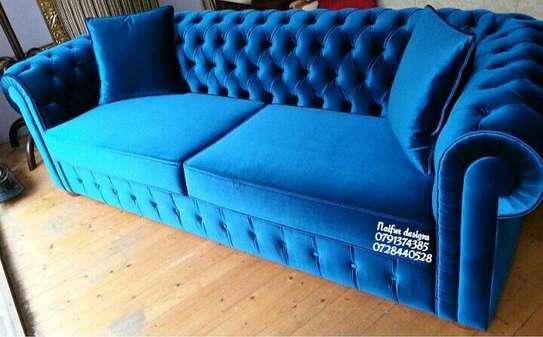 Blue chesterfield sofas/three seater sofas/modern livingroom sofa designs image 1