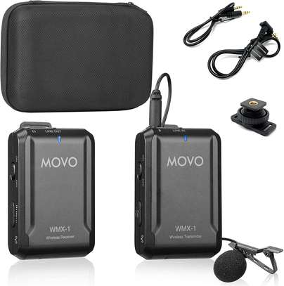 Movo WMX-1 2.4GHz Wireless Lavalier Microphone System Compatible with DSLR Cameras, Camcorders, iPhone, Android Smartphones, and Tablets (200' ft Audio Range) image 1