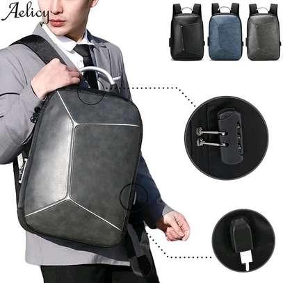 Antitheft leather Backpack laptop bag image 1