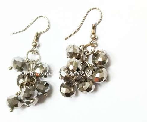 Grey Chandlier Crystal Earrings image 1
