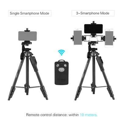 YUNTENG VCT-6808 Multi-functional Tripod for Phone with 3 Phone Holders 4-Section Telescoping Tripod Ball Head Remote Controller image 6