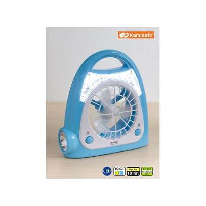 Modern Portable Handheld Multi-Functional Rechargeable Fan- green /blue image 1