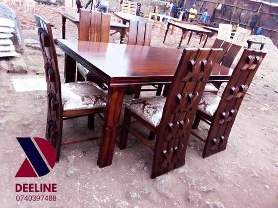 Rectangular 6 Seater Mahogany Framed Dining Sets image 1