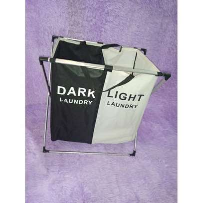 2 Compartments Lights And Darks Foldable Washing Basket - Black Rice image 1