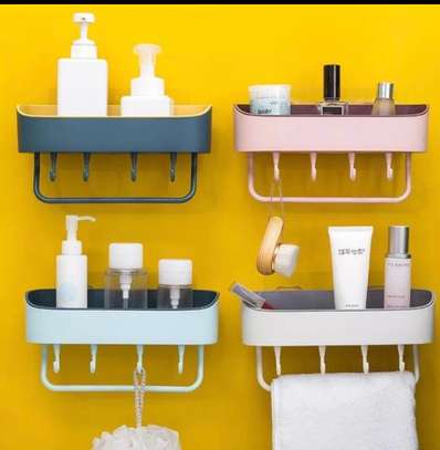 1pc Bathroom Shelf Organizer with towel holder and hooks image 1
