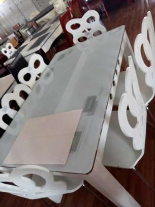 4 seater white dining table image 1
