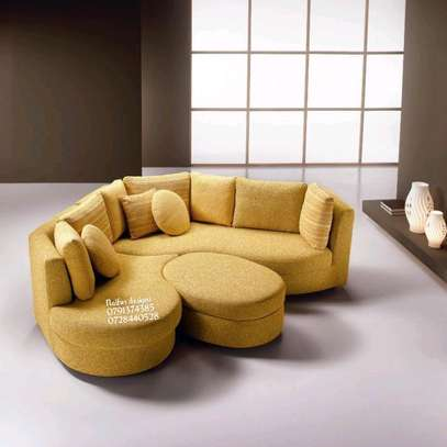 Yellow curved sofas/sectional couch/six seater modern sofas image 1