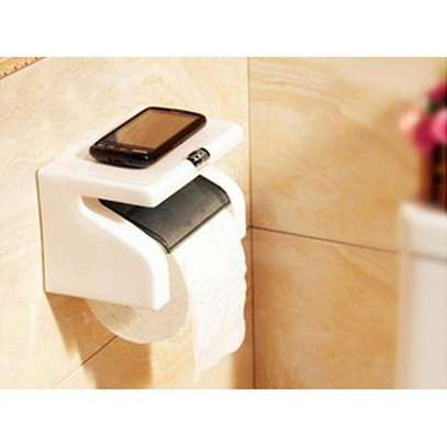 White Classy Tissue Holder With Phone Holder - White image 1