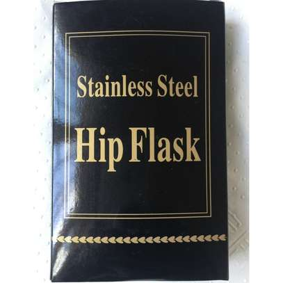 Stylish Stainless Steel Leather Top Hip Alcohol Whisky Flask image 3