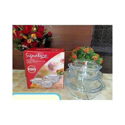 3 Pcs Glass Casserole Set With Lids image 1