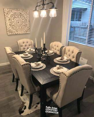 Six seater dining set/wingback dining chairs/wood dining set image 1