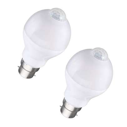 7W Auto PIR Motion + Light Sensor Detection LED Light Lamp Globe Bulb White (Pack of 2)
