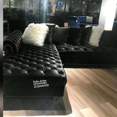 Black chesterfield L shaped sofa/six seater sofas image 2