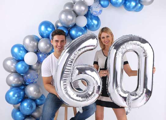 Silver Number Balloons Giant Jumbo Number  Foil Mylar B image 1