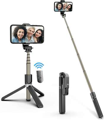 Selfie Stick, Aluminium Alloy Selfie Stick with Detachable Wireless Remote and Mini Tripod Stand Selfie Stick for GOPRO and smartphones image 1