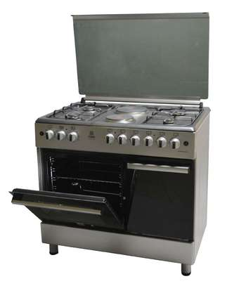 Standing Cooker, 90cm X 60cm, 4 + 2, Electric Oven, Silver image 2