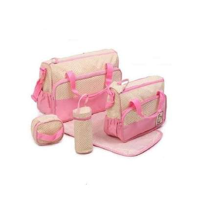 Bear Club Shoulder Diaper Bag, Multi Pockets Waterproof Nappy Bag For Travel, Large Capacity and Stylish -Pink image 2